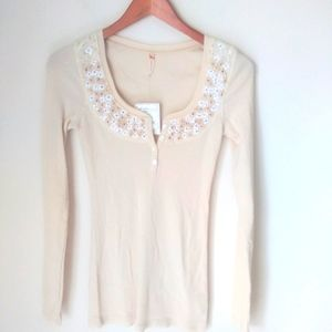 Free People embroidered floral thermal knit size S
